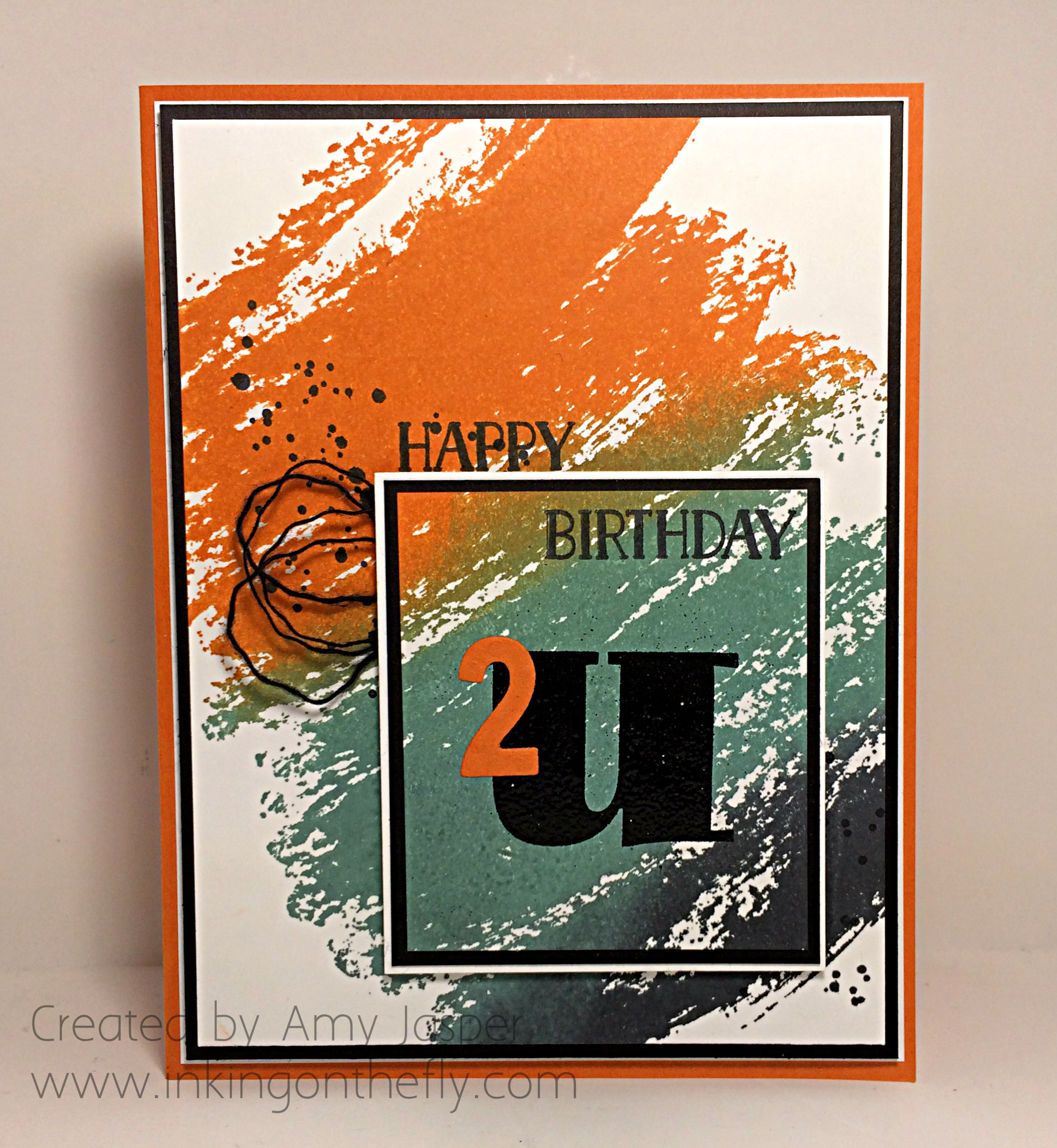 Orange Watercolour Wash birthday card
