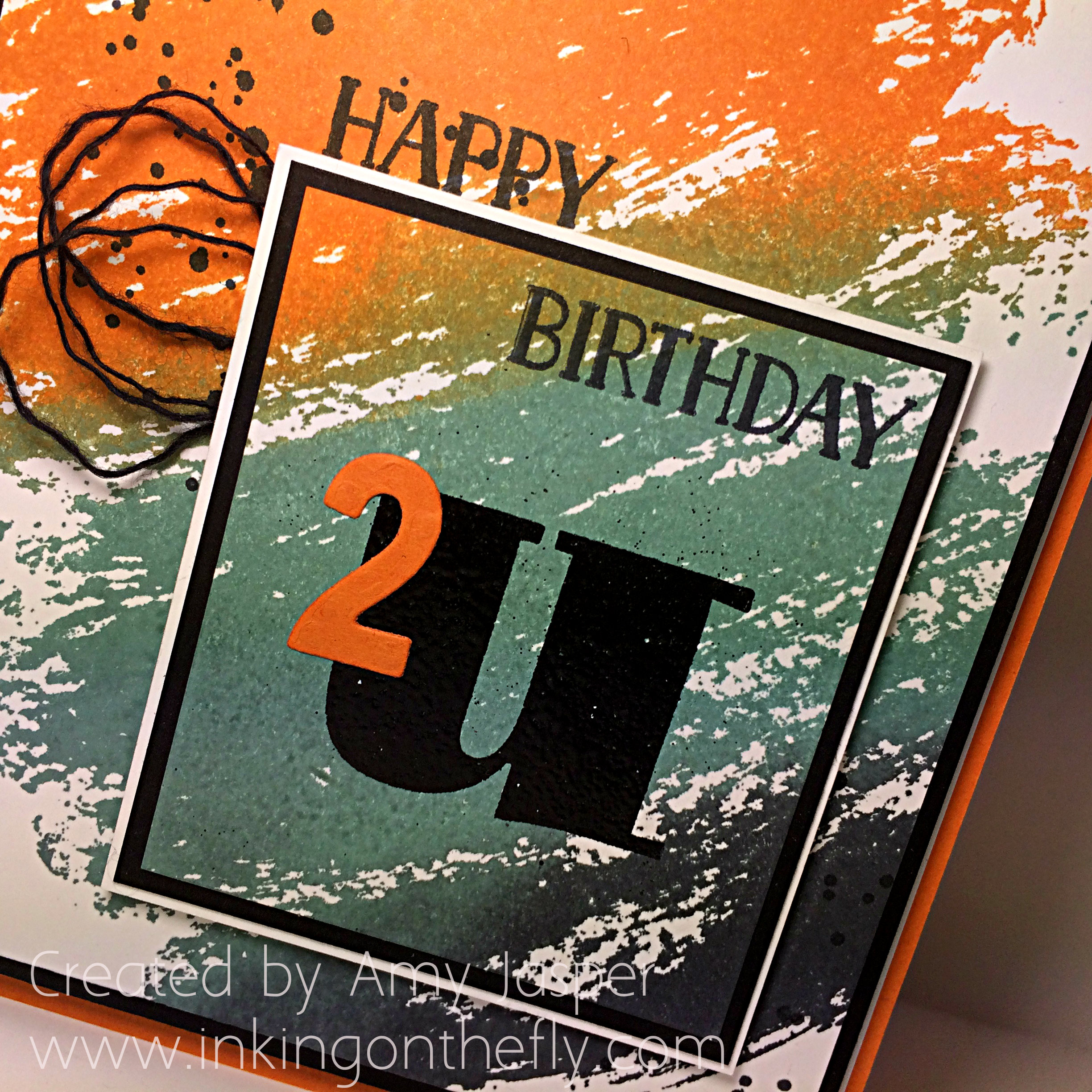 Orange Watercolour Wash Birthday Card up close