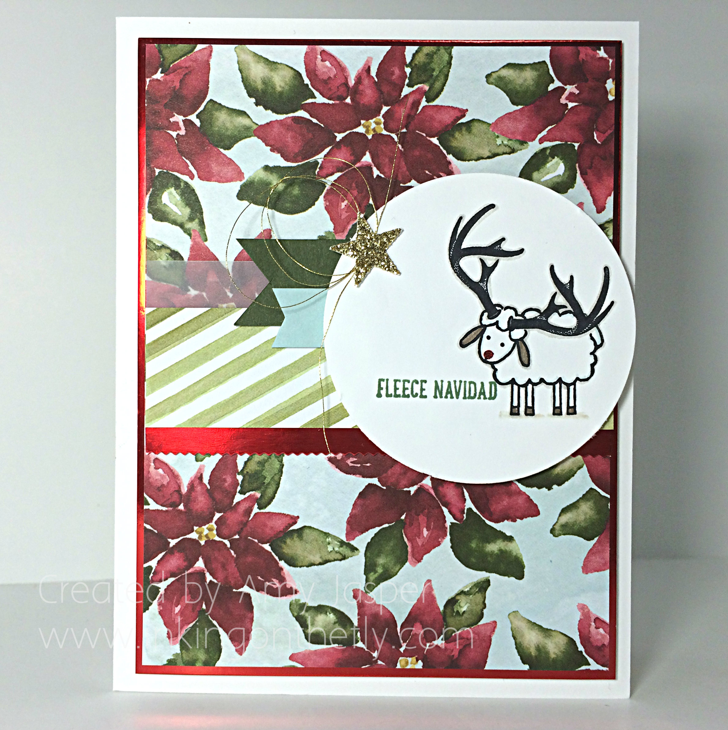 Fleece Navidad card created by Amy Jasper at www.inkingonthefly.com