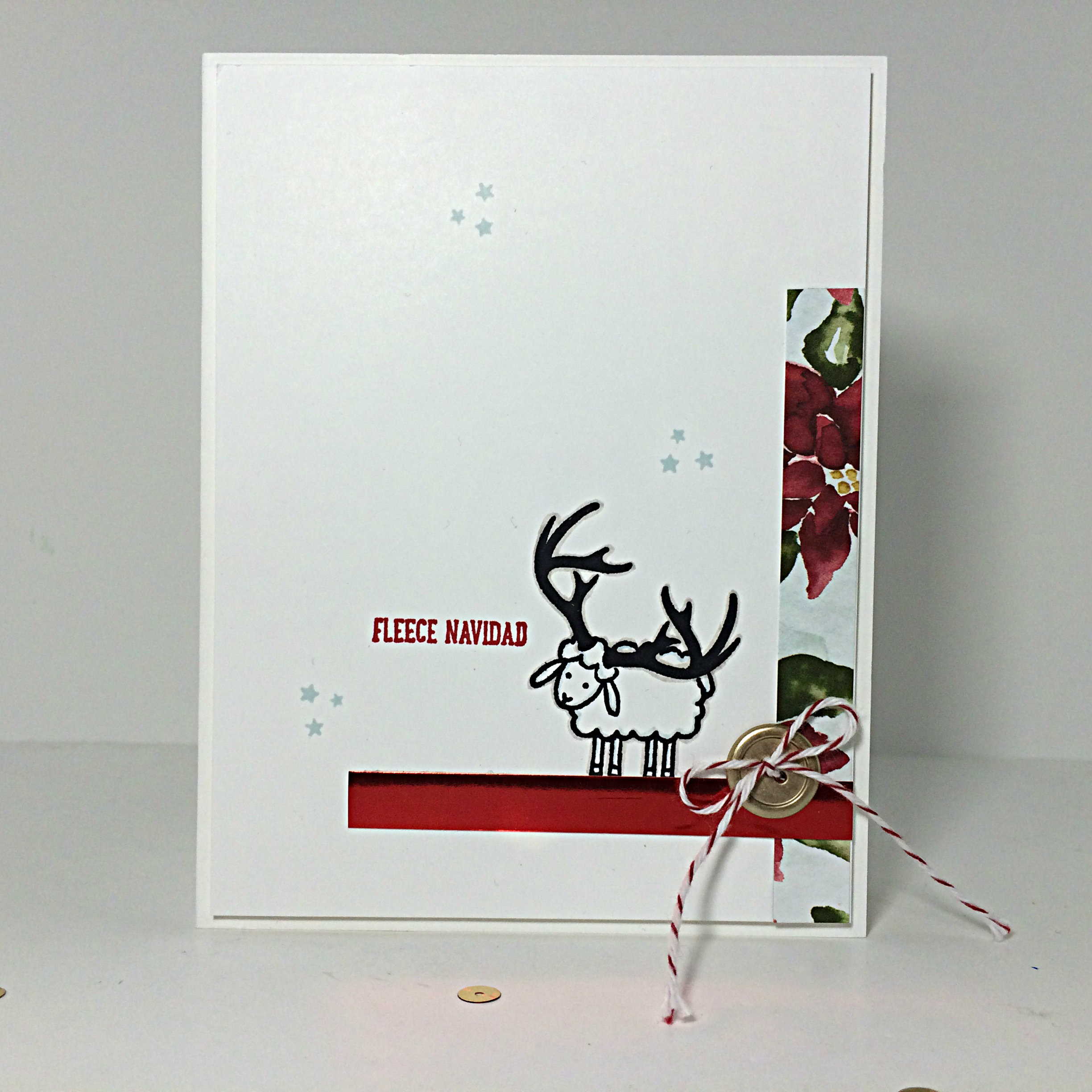 Fleecy Caribou card by Amy Jasper www.inkingonthefly.com - Barnyard Babies stamp set - Wonderland Stamp set - Jingle all the Way stamp set