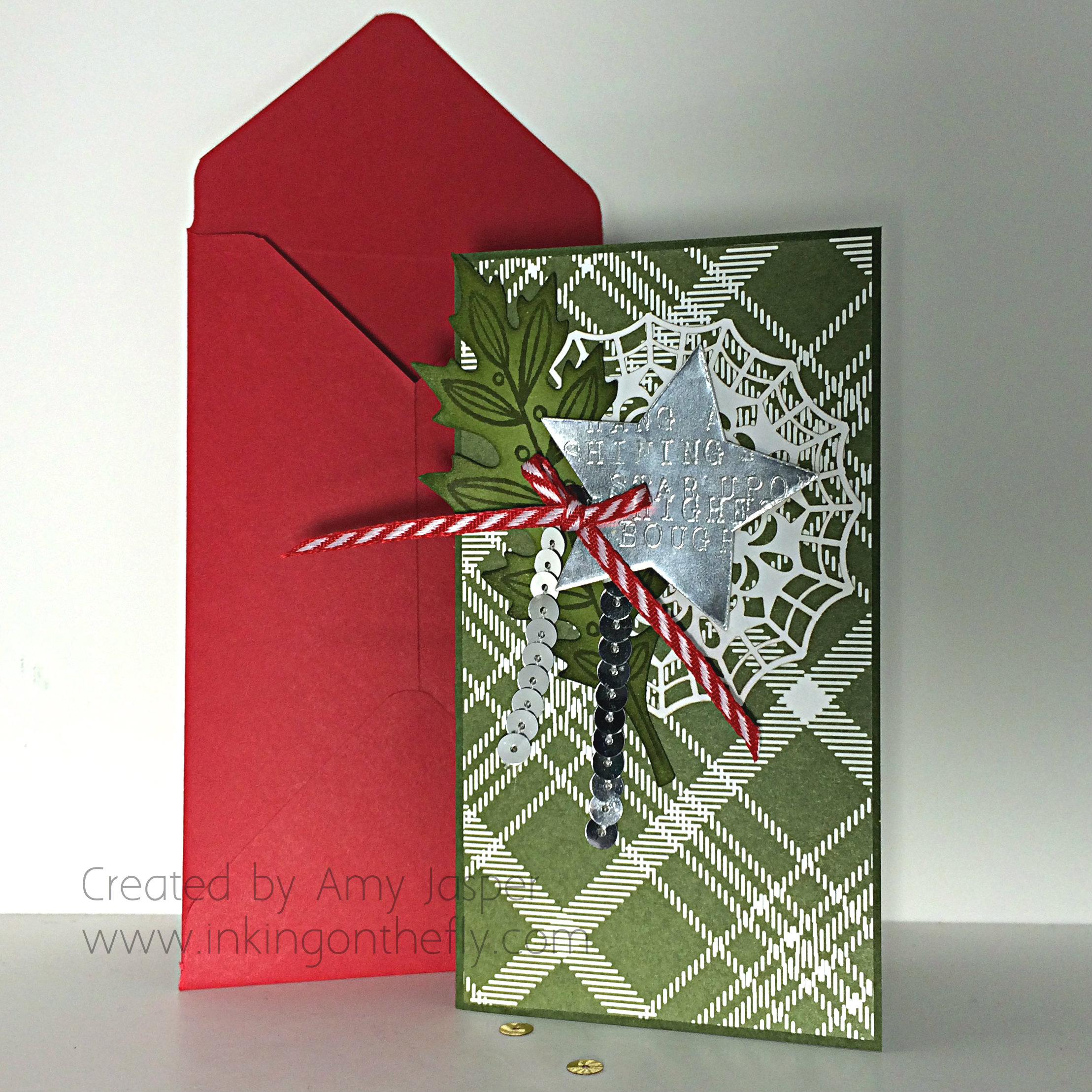 Hang a Shining Star card and envelope by Amy Jasper www.inkingonthefly.com
