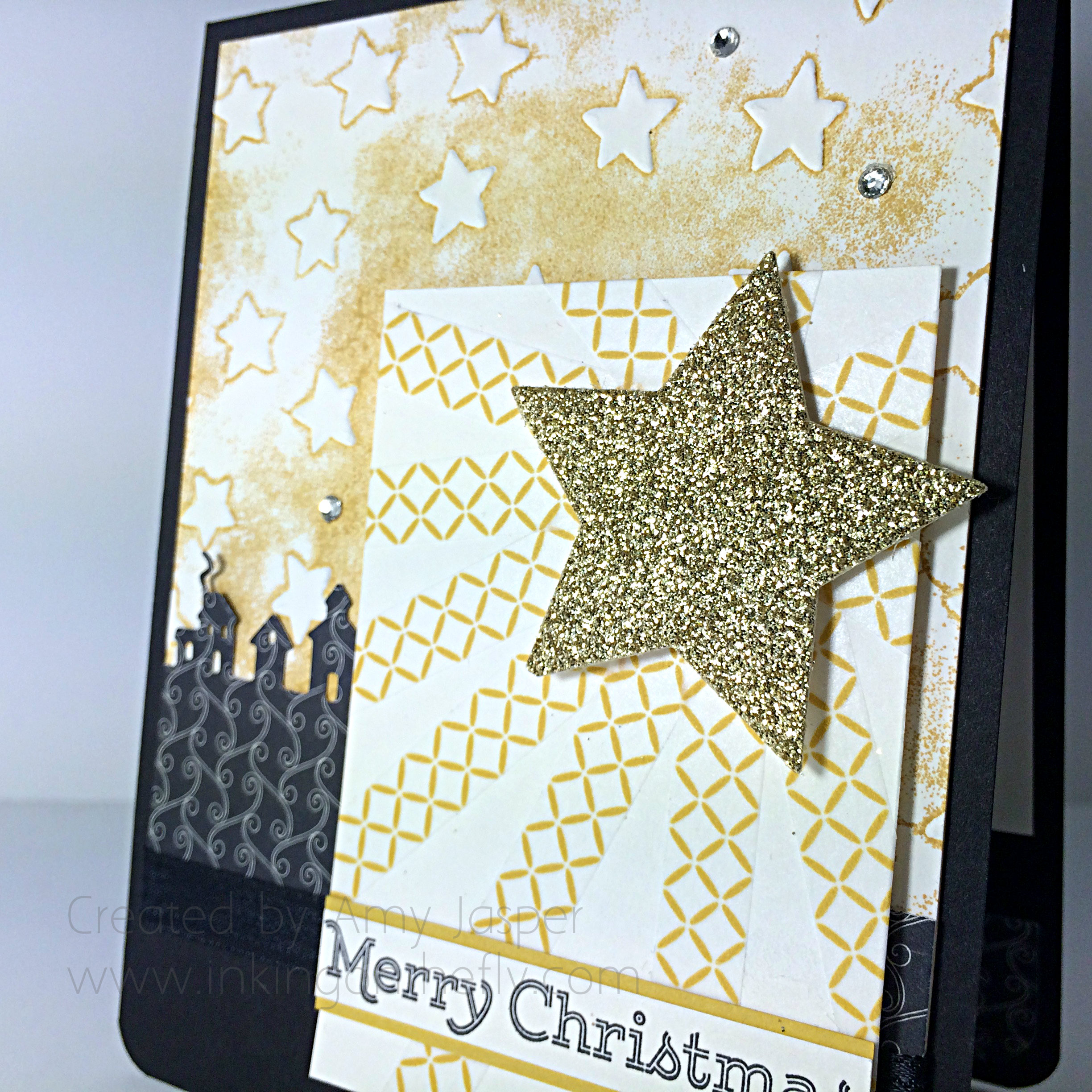 Under a Starry Sky by Amy Jasper www.inkingonthefly.com - Sleighride Edgelits, Star Embossing Folder from Stampin' Up