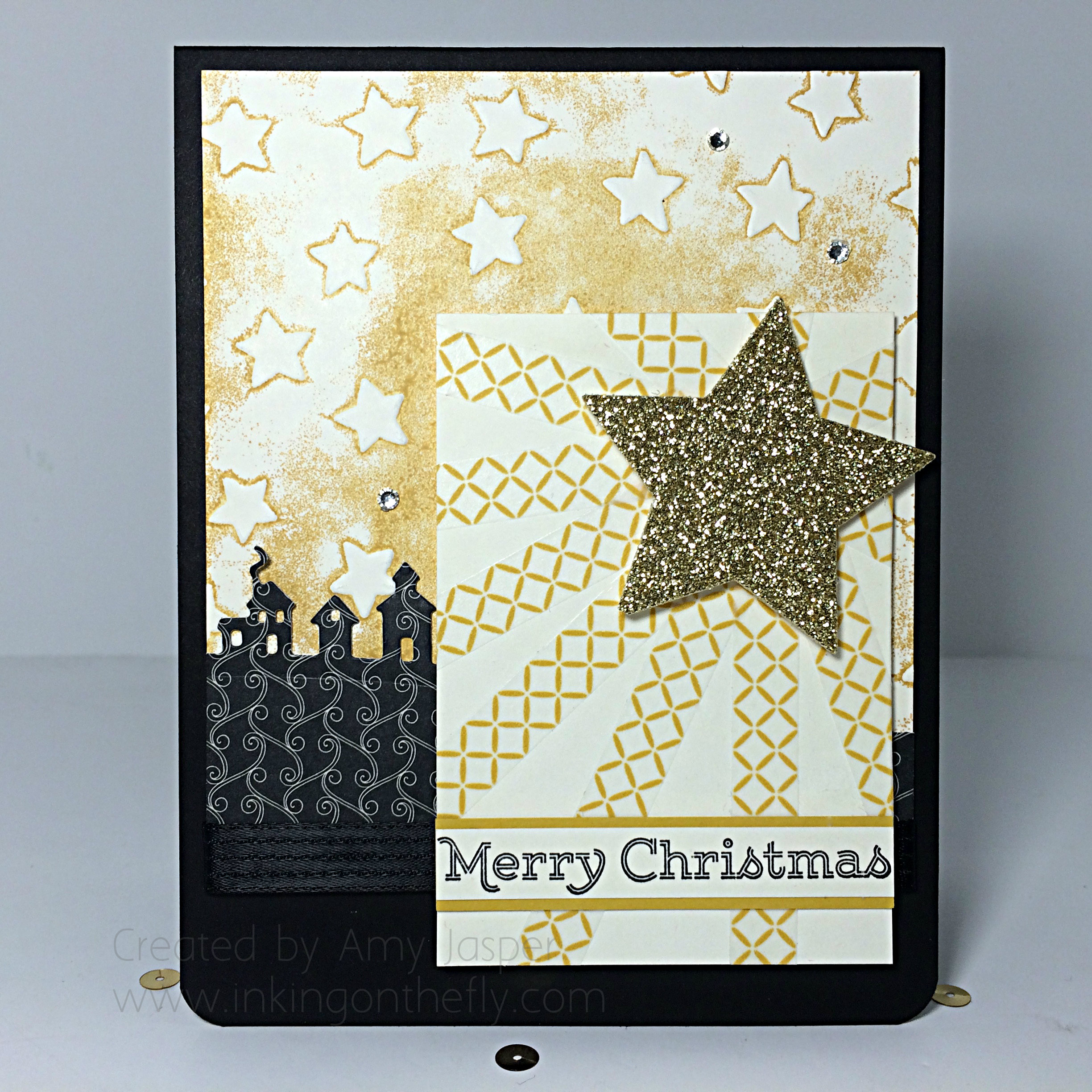 Under a Starry Sky created by Amy Jasper www.inkingonthefly.com with Sleighride Edgelits, Stars Embossing Folder, washi tape