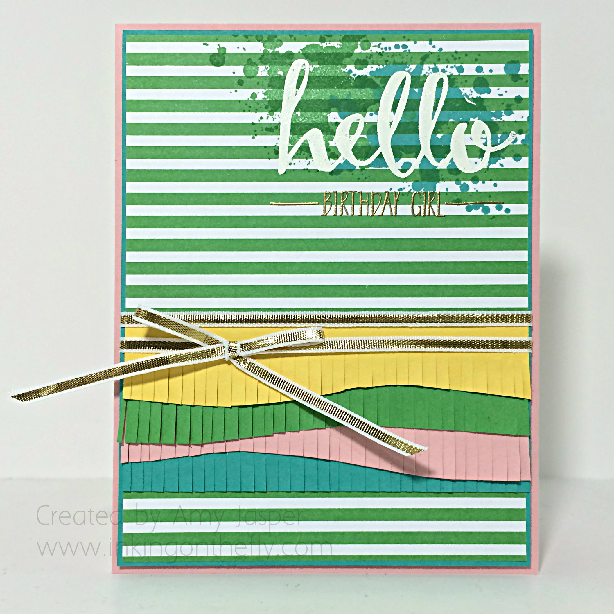 Hello (from the other side?) birthday card design by Amy Jasper at www.inkingonthefly.com