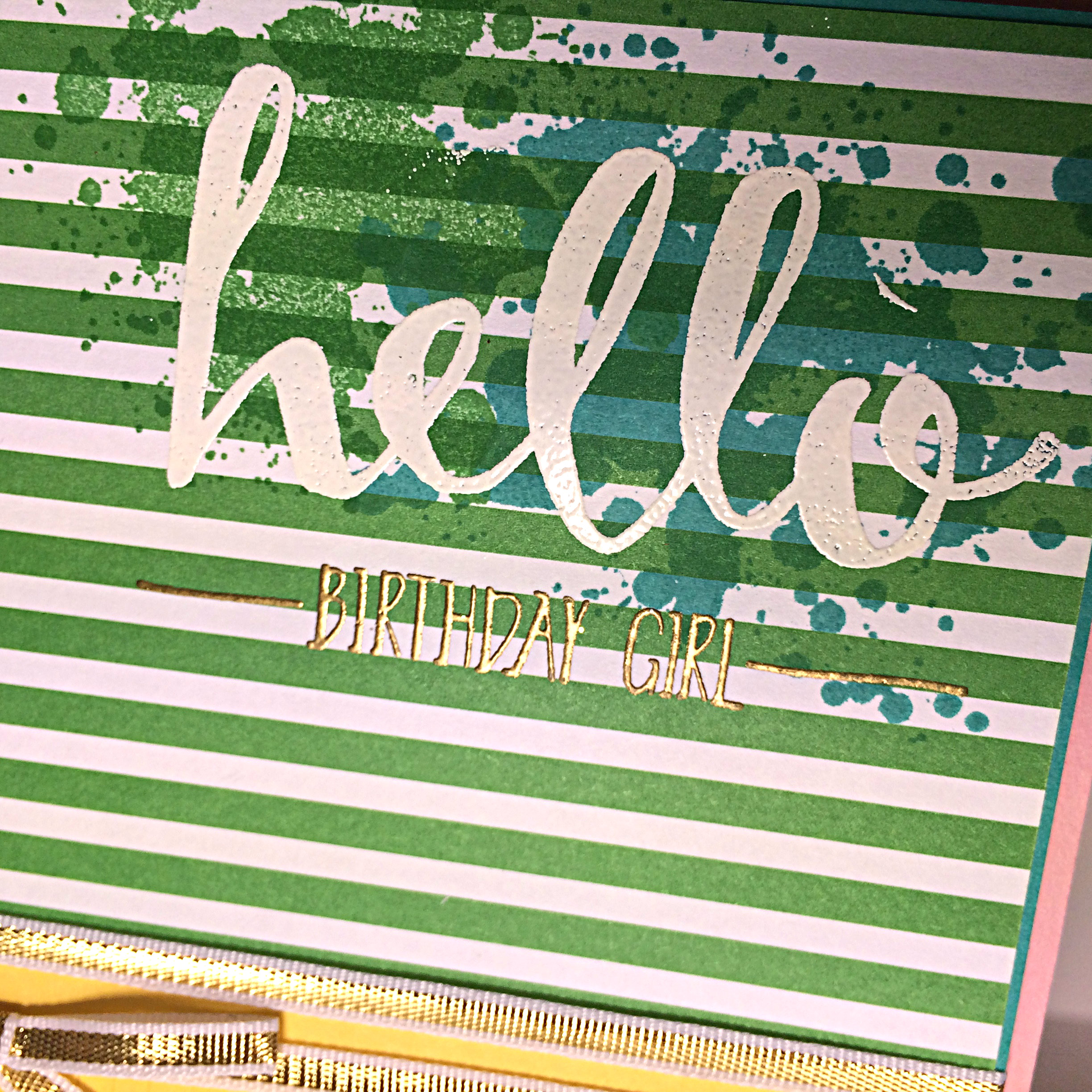 121 hello birthday embossing