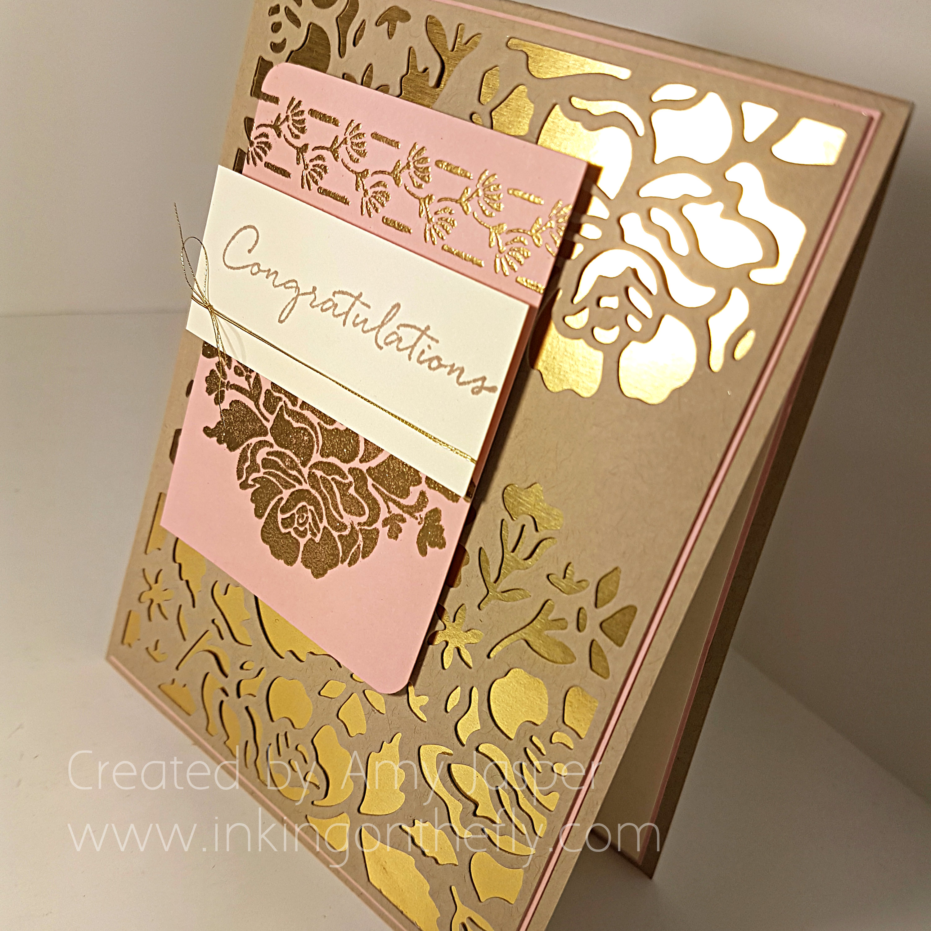 Gold and Blushing Wedding Card by Amy Jasper using the Detailed Floral Thinlits Die and the Floral Phrases Stamp Set from Stampin' Up! - www.inkingonthefly.com