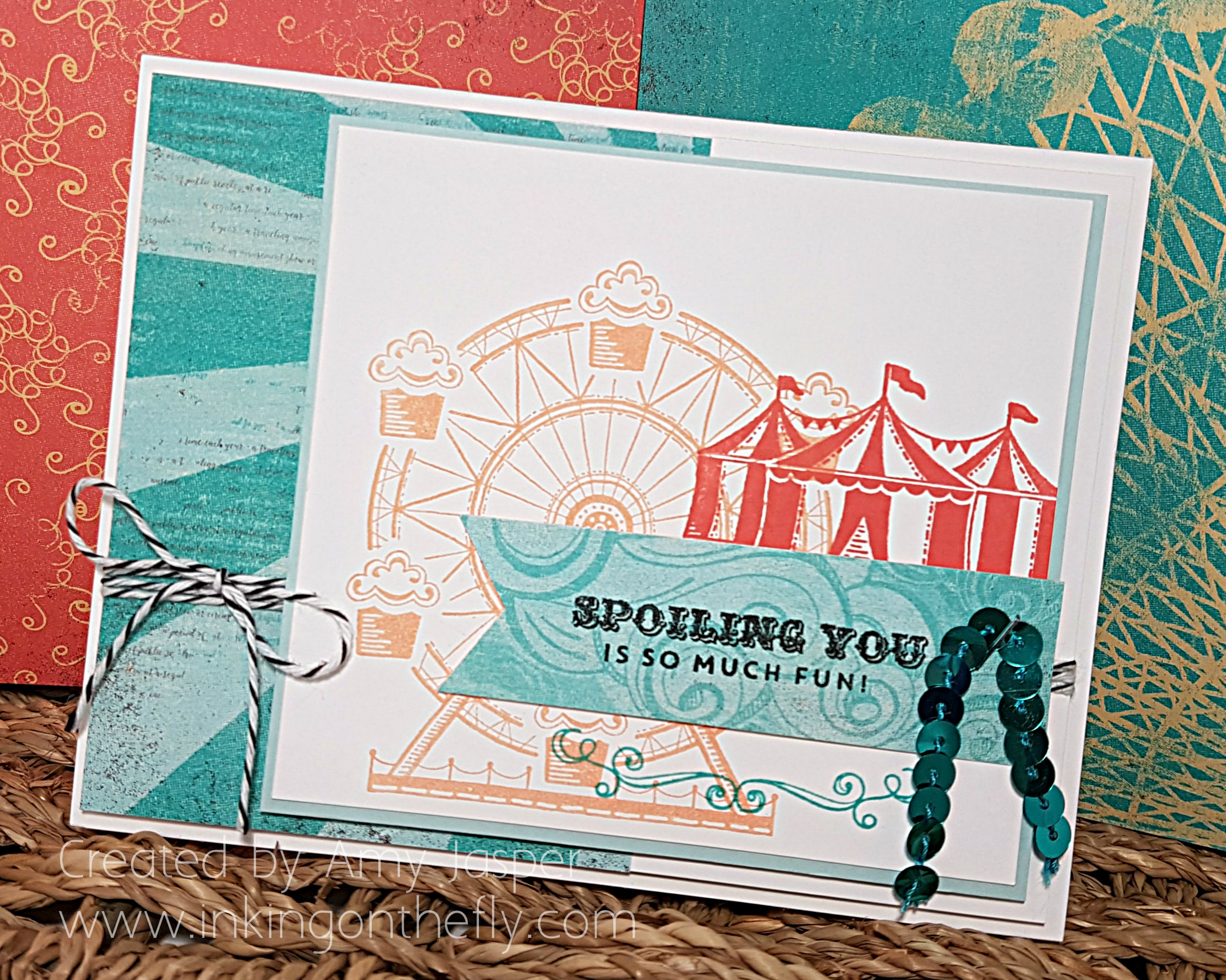 www.inkingonthefly.com Carousel Birthday by Amy Jasper - CASEd from Kristin McNickle's beautiful note card design.