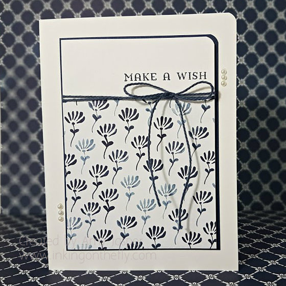 Blue and White Wishes card by Amy Jasper www.inkingonthefly.com