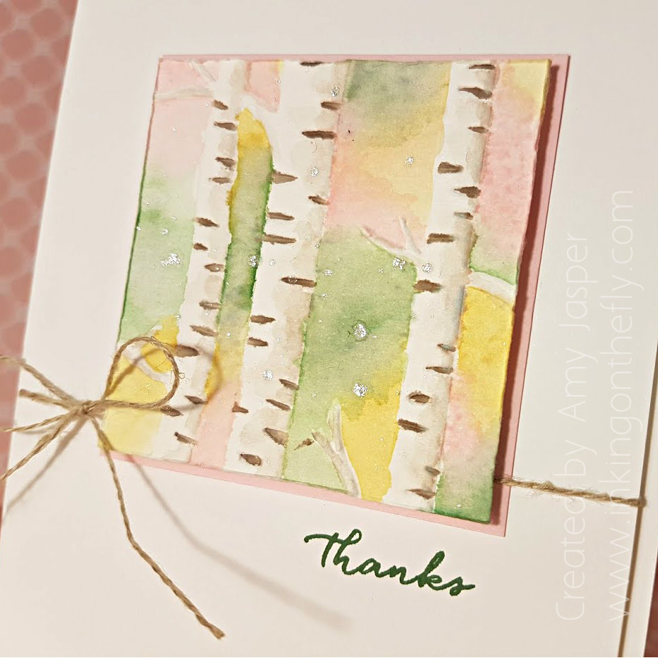 watercolour birch trees by Amy Jasper www.inkingonthefly.com using the Woodland Embossing Folder by Stampin' Up!
