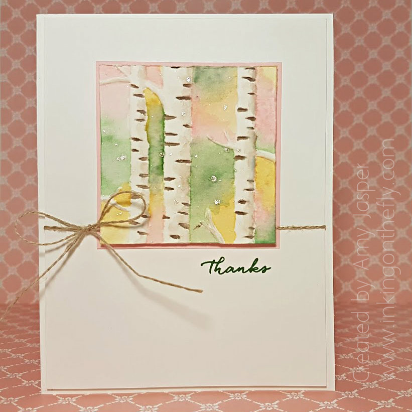 Watercolour Birch Trees by Amy Jasper www.inkingonthefly.com - using the Woodland Embossing Folder from Stampin' Up!